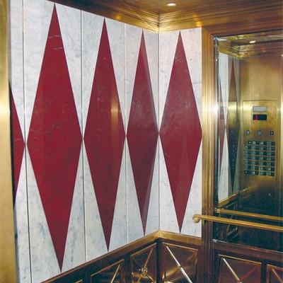 Elevator cab - Caesar's Palace Las Vegas - Rosso Laguna, White Carrara