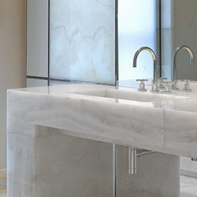 Private house, London - Solid White Onyx vanity